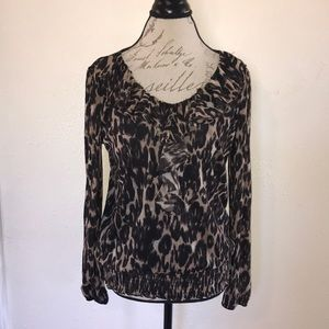 Leopard Print Ruffled Stretchy Long-Sleeves Blouse